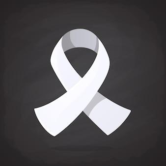 Weißes band internationales symbol des bewusstseins über lungenkrebs beendet männliche gewalt gegen frauen
