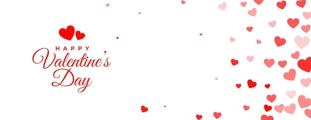 Weißes banner des glücklichen valentinstags mit liebesherzen