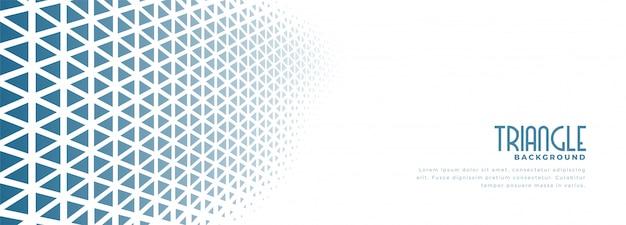 Weißes banner mit blauem dreieck-halbtonmusterentwurf