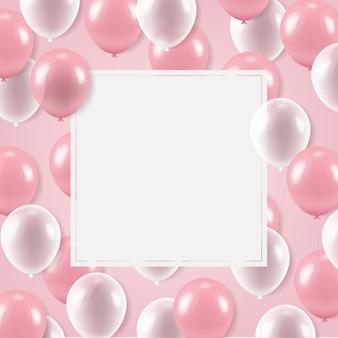 Weißes banner mit luftballons