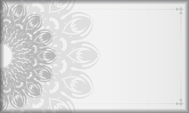 Weißes banner mit mandala-ornamenten und platz für ihr logo. druckbare design-hintergrundvorlage mit schwarzen mustern.