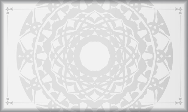 Weißes banner mit schwarzen mandala-ornamenten und platz für ihr logo. druckbare design-hintergrundvorlage mit griechischen mustern.