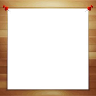 Weißes blatt papier auf hölzernem hintergrund mit raum für text
