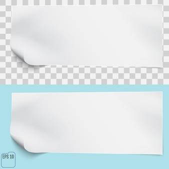 Weißes blatt papier auf transparenten und blauen hintergründen