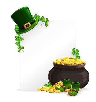 Weißes blattbanner des st. patricks day, topf mit goldenen münzen, koboldhut, schuhe und grüner kleeblattklee. karikaturgrußkarte des heiligen patricksfestivals, irische feiertagsfeiereinladung des 17. märz