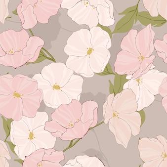 Weißes blühendes schönes nahtloses muster des vektors. gezeichnete mohnblumen design. tropische gartenillustration. rosa blumen wallpaper.