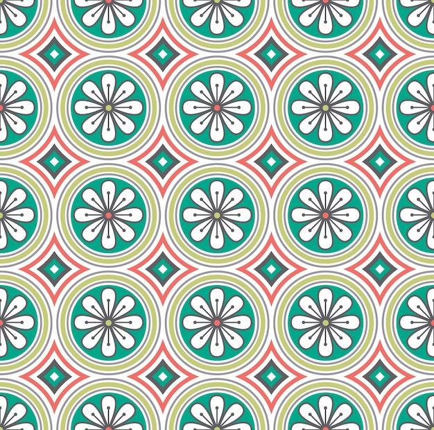 Weißes blumenmedaillon auf grünem hintergrund