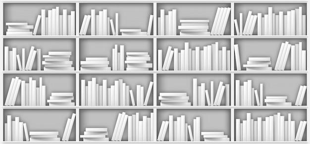 Weißes bücherregalmodell, bücher im regal in der bibliothek