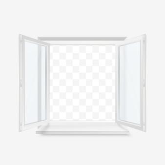 Weißes büroplastikfenster