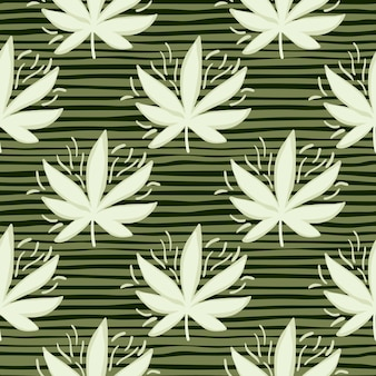 Weißes cannabis hinterlässt ein nahtloses muster. gestreifter grüner hintergrund. dekorativer hintergrund für tapeten, geschenkpapier, textildruck, stoff. illustration.