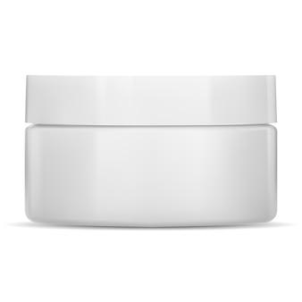 Weißes cremeglas kunststoffkosmetikbehälter