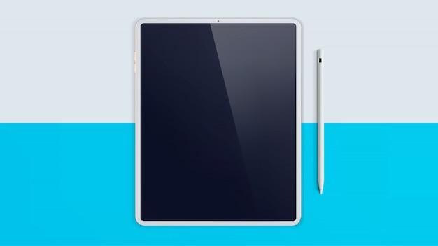 Weißes digitales tablet-bildschirmmodell. modernes goldtafel- und stiftmodell.