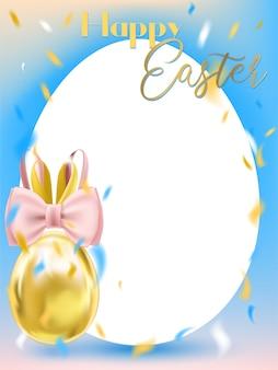 Weißes ei ostern mit bunny bow und weißem rahmen