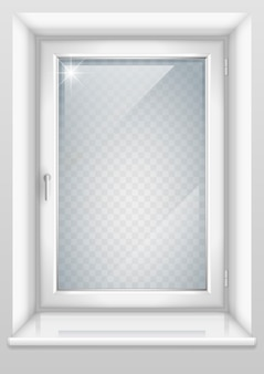 Weißes fenster mit transparentem glas