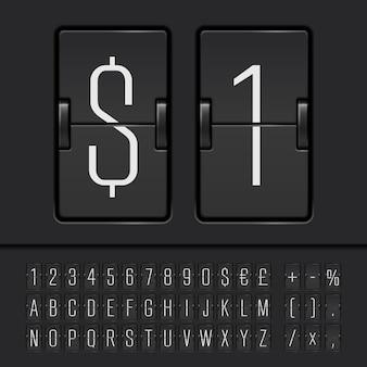 Weißes flip-scoreboard-alphabet, zahlen und symbole. vektor-eps10