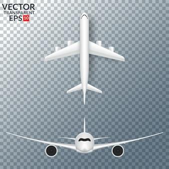 Weißes flugzeug mit lokalisierter vektorillustration des schattensatzes