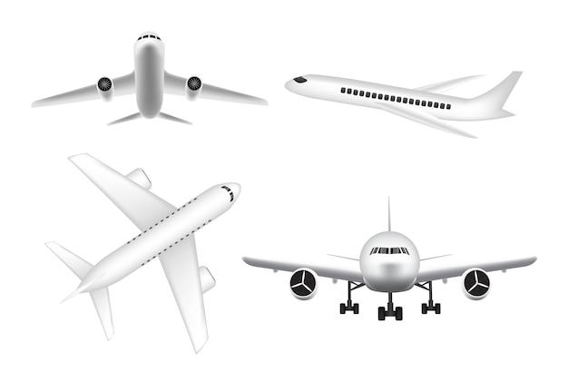 Weißes flugzeugflugzeugfliegen auf weißem hintergrund