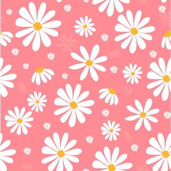 Weißes gänseblümchen blüht auf nahtlosem hintergrund des rosa pastellmusters