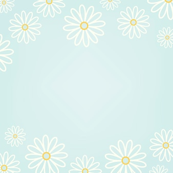 Weißes gänseblümchenmuster mit einem hellblauen hintergrundvektor