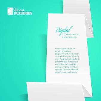 Weißes gefaltetes papier mit beispieltextschablone