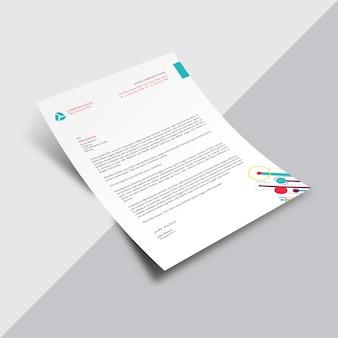 Weißes geschäftsdokument mit mehrfarbigen details