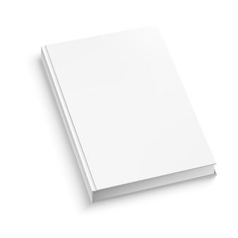 Weißes geschlossenes buch auf weißer tabelle