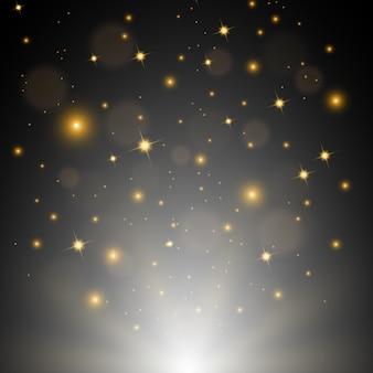 Weißes glänzen mit den goldenen funken, die vektor-illustration fliegen