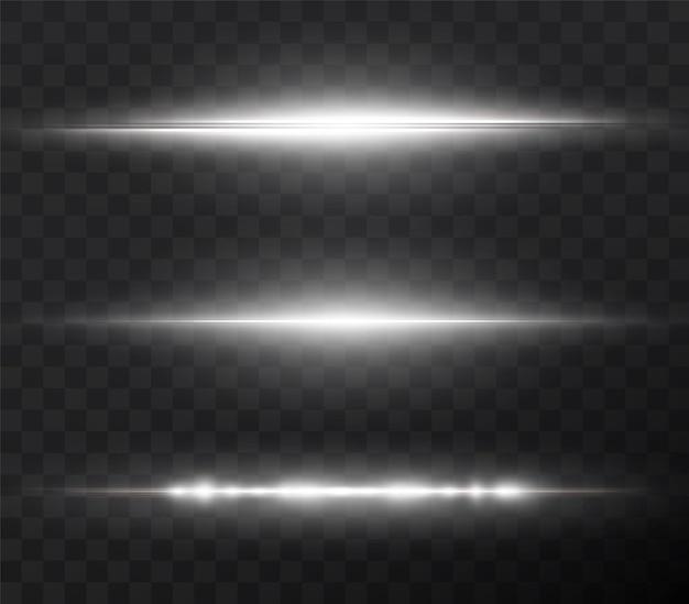 Weißes horizontales lens flares-paket laserstrahlen horizontale lichtstrahlen schöne lichtreflexe png