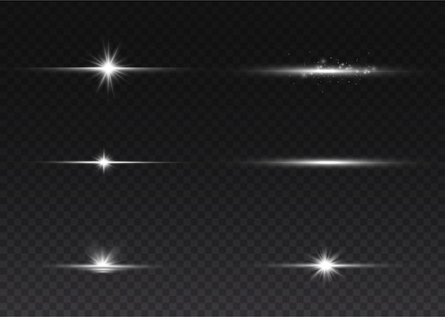 Weißes horizontales linseneffektpaket. laserstrahlen, horizontale lichtstrahlen. leuchtender abstrakter funkelnder gezeichneter hintergrund.