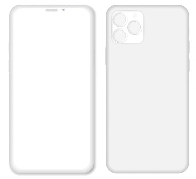 Weißes iphone ton rendern smartphone lokalisiert auf weißem hintergrund. origami-papiermaterialschablone mit realistischem schlagschatten.