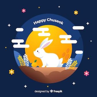 Weißes kaninchen des flachen designs auf chuseok