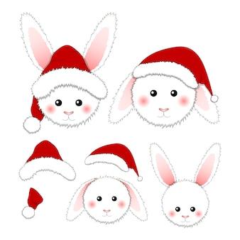 Weißes kaninchen santa claus lokalisiert auf weißem hintergrund.