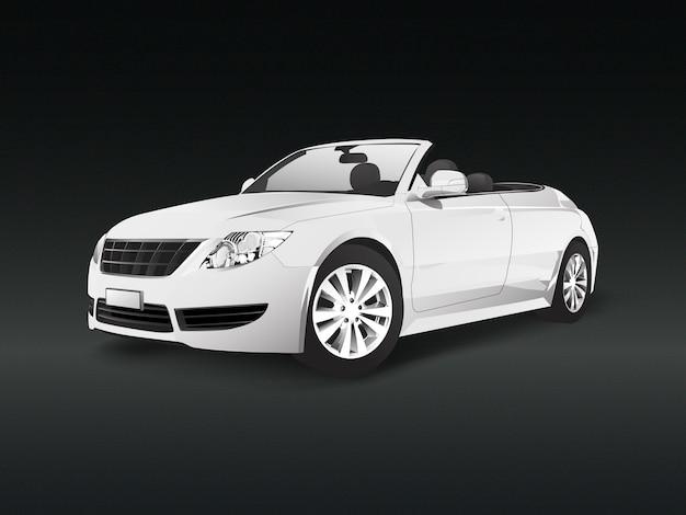 Weißes konvertierbares auto in einem schwarzen hintergrundvektor