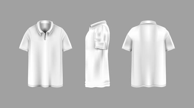 Weißes kragenhemd mit verschiedenen blickwinkeln vorlage