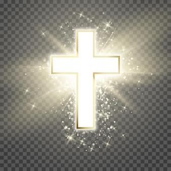 Weißes kreuz mit goldenem rahmen und glanzsymbol des christentums.