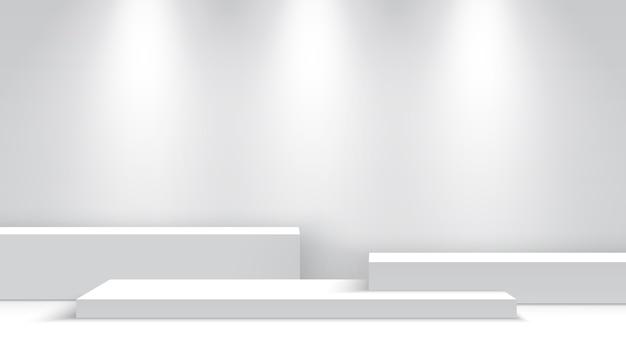 Weißes leeres podium mit scheinwerfern. messestand. sockel. szenenillustration.