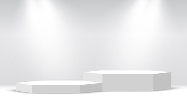 Weißes leeres podium. sockel. sechseckige szene mit scheinwerfern.