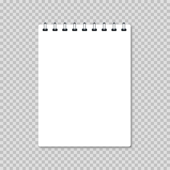 Weißes leeres realistisches notizbuch