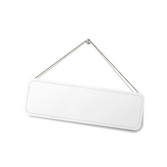 Weißes leeres schild, das am seil hängt, schablone für ladentür auf weiß