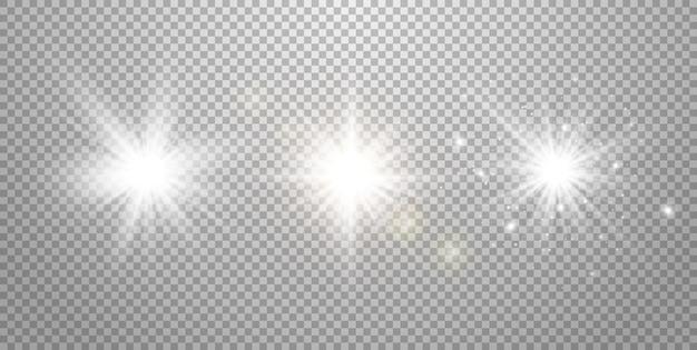 Weißes leuchtendes licht auf transparentem hintergrund