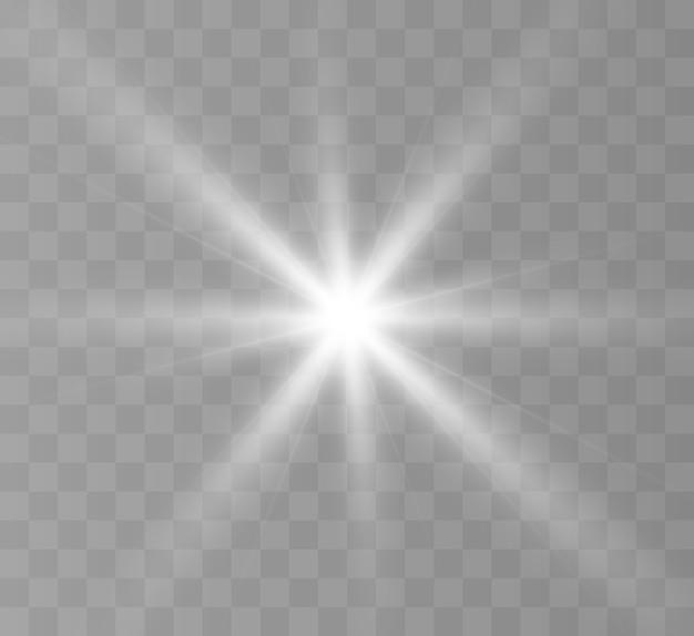 Weißes leuchtendes licht explodiert auf einem transparenten hintergrund. heller stern.