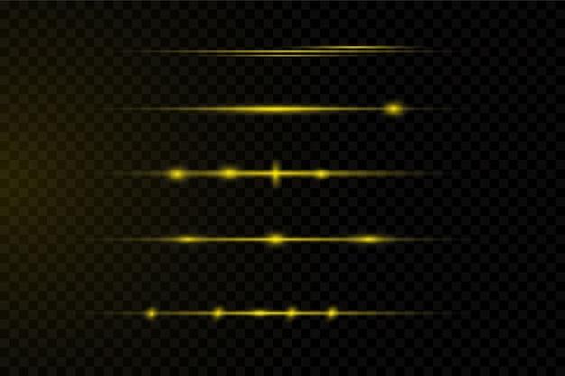 Weißes leuchtendes licht explodiert auf einem transparenten hintergrund. laserstrahlen, horizontale lichtstrahlen.