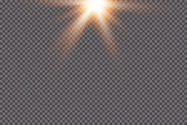 Weißes leuchtendes licht explodiert auf einem transparenten hintergrund. mit strahl. transparent strahlende sonne, heller blitz. das zentrum eines hellen blitzes.