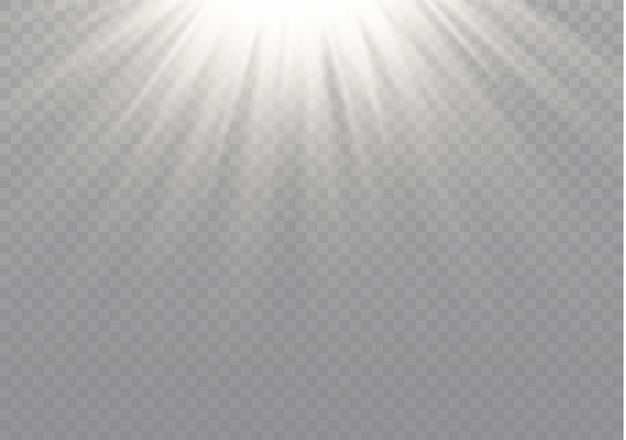Weißes leuchtendes licht explodiert auf einem transparenten hintergrund.