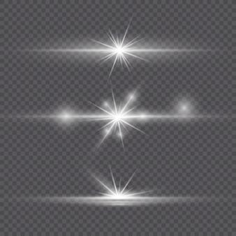 Weißes, leuchtendes licht explodiert auf einem transparenten hintergrund