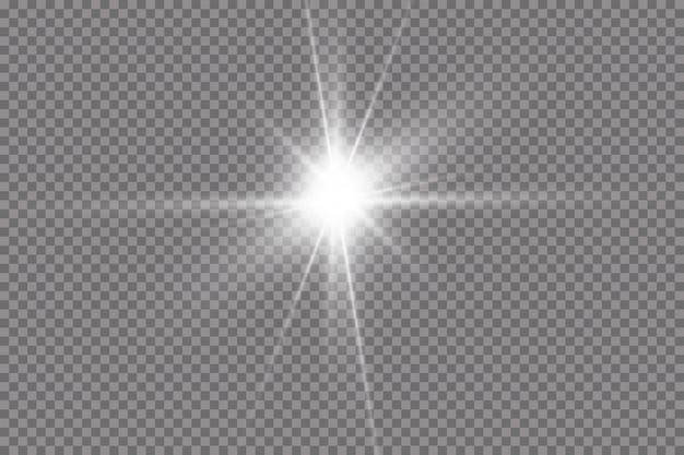 Weißes leuchtendes licht explodiert auf transparent
