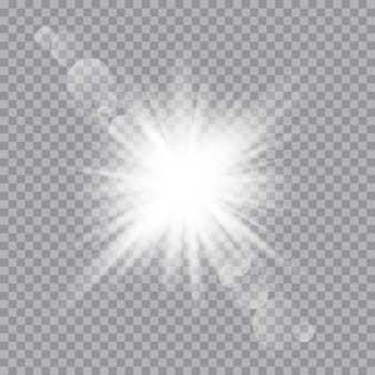 Weißes, leuchtendes licht explodierte mit transparentem licht. vector illustration für kühle effektdekoration mit strahlnscheinen. heller stern.