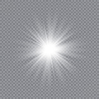 Weißes leuchtendes licht platzte explosion mit transparentem.