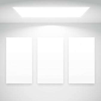 Weißes licht mit bilderrahmen