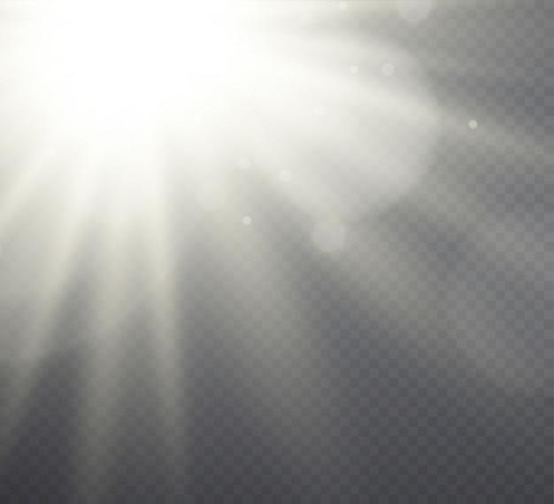 Weißes lichteffektsonnenlicht, strahlen auf transparentem